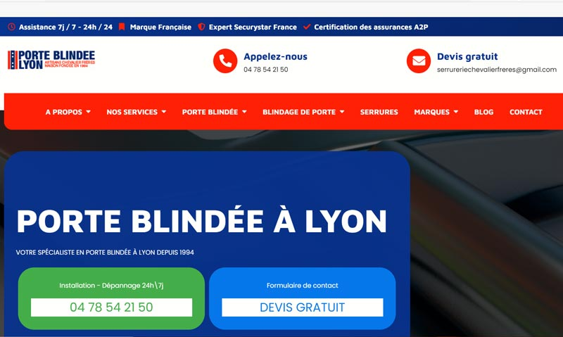 Porte blindée Lyon